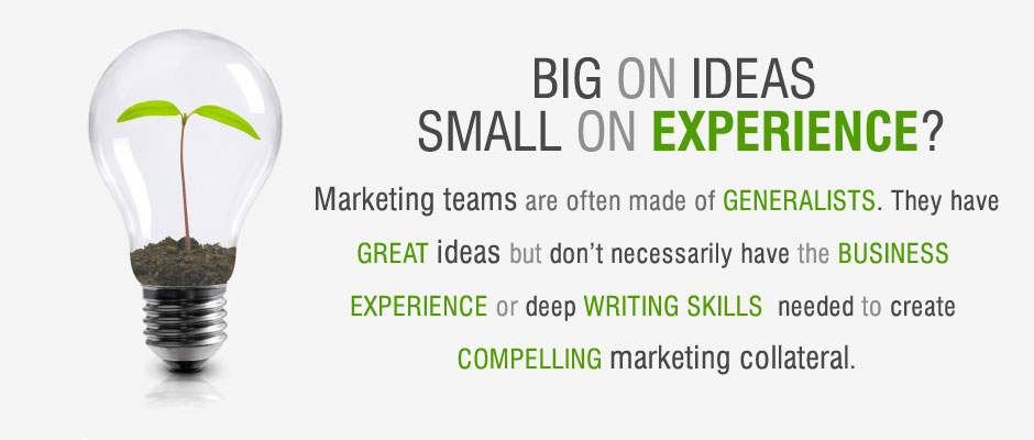 Marketing teams are often made of GENERALISTS. They have GREAT ideas but don't necessarily have the BUSINESS  EXPERIENCE or deep WRITING SKILLS  needed to create  COMPELLING marketing collateral.
